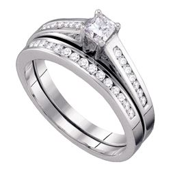 0.49 CTW Princess Diamond Bridal Engagement Ring 14KT White Gold - REF-59M9H
