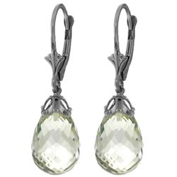 Genuine 14 ctw Green Amethyst Earrings Jewelry 14KT White Gold - REF-34N3R