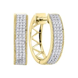 0.33 CTW Diamond Triple Row Pave Hoop Earrings 10KT Yellow Gold - REF-32Y9X