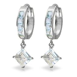 Genuine 4 ctw Aquamarine Earrings Jewelry 14KT White Gold - REF-62N6R