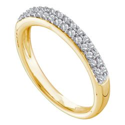 0.26 CTW Pave-set Diamond Double Row Wedding Ring 14KT Yellow Gold - REF-37M5H