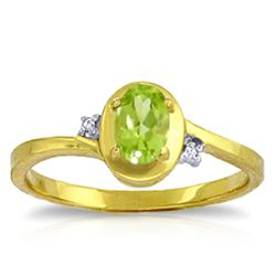 Genuine 0.51 ctw Peridot & Diamond Ring Jewelry 14KT Yellow Gold - REF-25W4Y