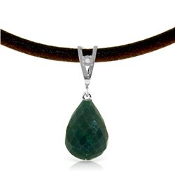 Genuine 15.51 ctw Green Sapphire Corundum & Diamond Necklace Jewelry 14KT White Gold - REF-30V2W