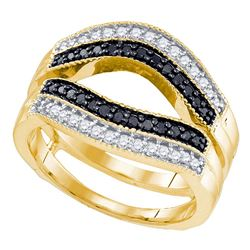 0.55 CTW Black Color Diamond Ring 10KT Yellow Gold - REF-44F9N