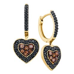 0.62 CTW Black Color Diamond Heart Cluster Earrings 14KT Yellow Gold - REF-52Y4X