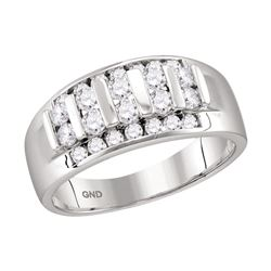 0.99 CTW Mens Channel-set Diamond Raised Wedding Ring 10KT White Gold - REF-71M9H