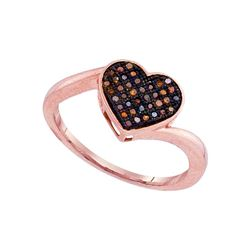 0.10 CTW Red Color Diamond Heart Love Ring 10KT Rose Gold - REF-19W4K