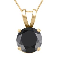 14K Yellow Gold Jewelry 0.75 ct Black Diamond Solitaire Necklace - REF#53Z7A-WJ13314