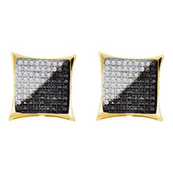 0.74 CTW Mens Black Color Diamond Square Kite Cluster Earrings 10KT Yellow Gold - REF-34X4Y