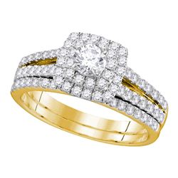 1 CTW Diamond Halo Bridal Engagement Ring 14KT Yellow Gold - REF-97M4H