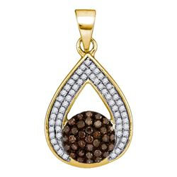 0.33 CTW Cognac-brown Color Diamond Teardrop Cluster Pendant 10KT Yellow Gold - REF-22M4H
