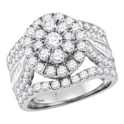 3.46 CTW Diamond Flower Cluster Bridal Engagement Ring 14KT White Gold - REF-299N9F