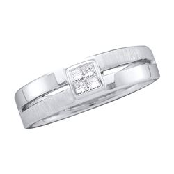 0.15 CTW Mens Princess Diamond 5mm Wedding Anniversary Ring 14KT White Gold - REF-64X4Y