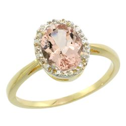 Natural 1.22 ctw Morganite & Diamond Engagement Ring 10K Yellow Gold - REF-24H7W