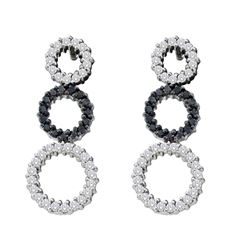 0.78 CTW Black Color Diamond Triple Circle Earrings 14KT White Gold - REF-67F4N
