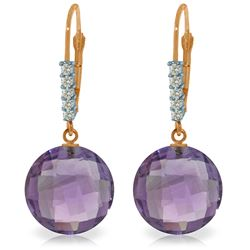 Genuine 10.75 ctw Amethyst & Diamond Earrings Jewelry 14KT Rose Gold - REF-37N8R