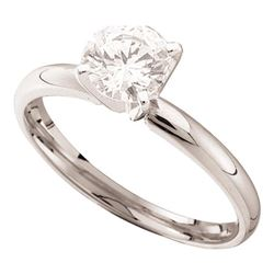 0.70 CTW Diamond Solitaire Bridal Engagement Ring 14KT White Gold - REF-119M9H