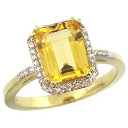 Natural 2.63 ctw Citrine & Diamond Engagement Ring 14K Yellow Gold - REF-42K8R