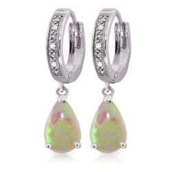 Genuine 1.58 ctw Opal & Diamond Earrings Jewelry 14KT White Gold - REF-60A3K