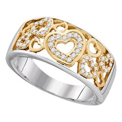 0.21 CTW Diamond Heart Love Ring 10KT Two-tone Gold - REF-30K2W