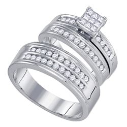 1 CTW His & Hers Princess Diamond Matching Bridal Ring 14KT White Gold - REF-132H2M