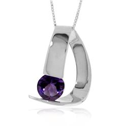 Genuine 1 ctw Amethyst Necklace Jewelry 14KT White Gold - REF-50W5Y