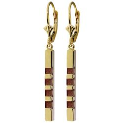 Genuine 0.70 ctw Garnet Earrings Jewelry 14KT Yellow Gold - REF-55K2V