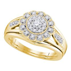 0.33 CTW Diamond Bridal Wedding Engagement Ring 10KT Yellow Gold - REF-49N5F
