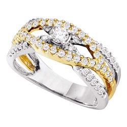 0.75 CTW Diamond Solitaire Bridal Wedding Engagement Ring 14KT Two-tone Gold - REF-75F2N