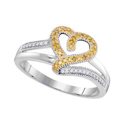 0.14 CTW Yellow Color Diamond Heart Love Ring 10KT White Gold - REF-18Y2X