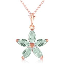 Genuine 1.40 ctw Green Amethyst Necklace Jewelry 14KT Rose Gold - REF-25Z8N