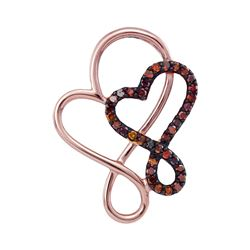 0.12 CTW Red Color Diamond Double Linked Heart Pendant 10KT Rose Gold - REF-14F9N