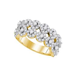 1.34 CTW Diamond Double Row Circle Cluster Ring 14KT Yellow Gold - REF-149K9W
