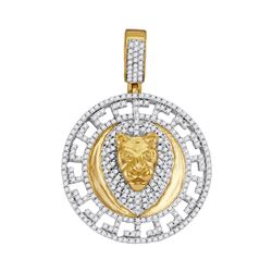 0.85 CTW Mens Diamond Lion Head Medallion Charm Pendant 10KT Yellow Gold - REF-57H2M