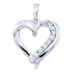 0.23 CTW Diamond Heart Pendant 10KT White Gold - REF-19X4Y