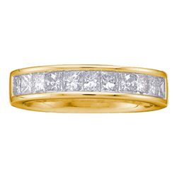 1 CTW Princess Channel-set Diamond Single Row Ring 14KT Yellow Gold - REF-107X9Y