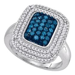 0.75 CTW Blue Color Diamond Rectangle Cluster Ring 10KT White Gold - REF-52X4Y
