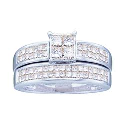 0.65 CTW Princess Diamond Bridal Engagement Ring 14KT White Gold - REF-134X9Y