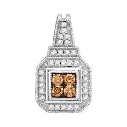 0.35 CTW Cognac-brown Color Diamond Square Cluster Pendant 10KT White Gold - REF-25N4F