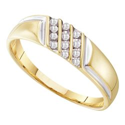 0.12 CTW Mens Channel-set Diamond Diagonal Triple Row Ring 10KT Yellow Gold - REF-10Y5X