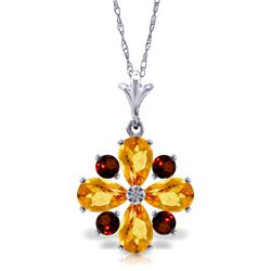 Genuine 2.43 ctw Citrine & Garnet Necklace Jewelry 14KT White Gold - REF-29P7H