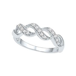 0.20 CTW Diamond Crossover Ring 10KT White Gold - REF-25X4Y
