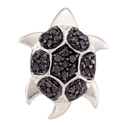 0.20 CTW Black Color Diamond Turtle Tortoise Pendant 14KT White Gold - REF-18K2W