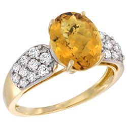 Natural 2.75 ctw quartz & Diamond Engagement Ring 14K Yellow Gold - REF-57A7V