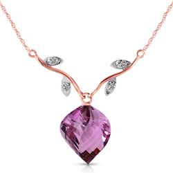 Genuine 10.77 ctw Amethyst & Diamond Necklace Jewelry 14KT Rose Gold - REF-40P5H