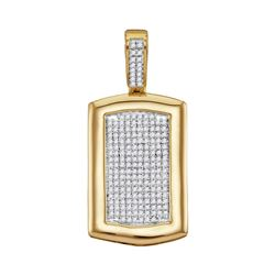 0.55 CTW Mens Diamond Dog Tag Cluster Charm Pendant 10KT Yellow Gold - REF-52F4N