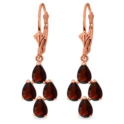 Genuine 4.5 ctw Garnet Earrings Jewelry 14KT Rose Gold - REF-41K2V