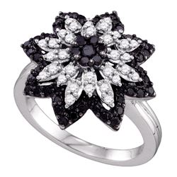 0.85 CTW Black Color Diamond Flower Cluster Ring 10KT White Gold - REF-67N4F