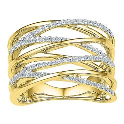 0.25 CTW Diamond Crossover Open Strand Ring 10KT Yellow Gold - REF-33X8Y