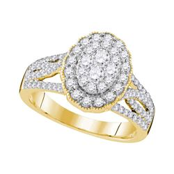 1.02 CTW Diamond Oval Halo Cluster Bridal Engagement Ring 10KT Yellow Gold - REF-119M9H